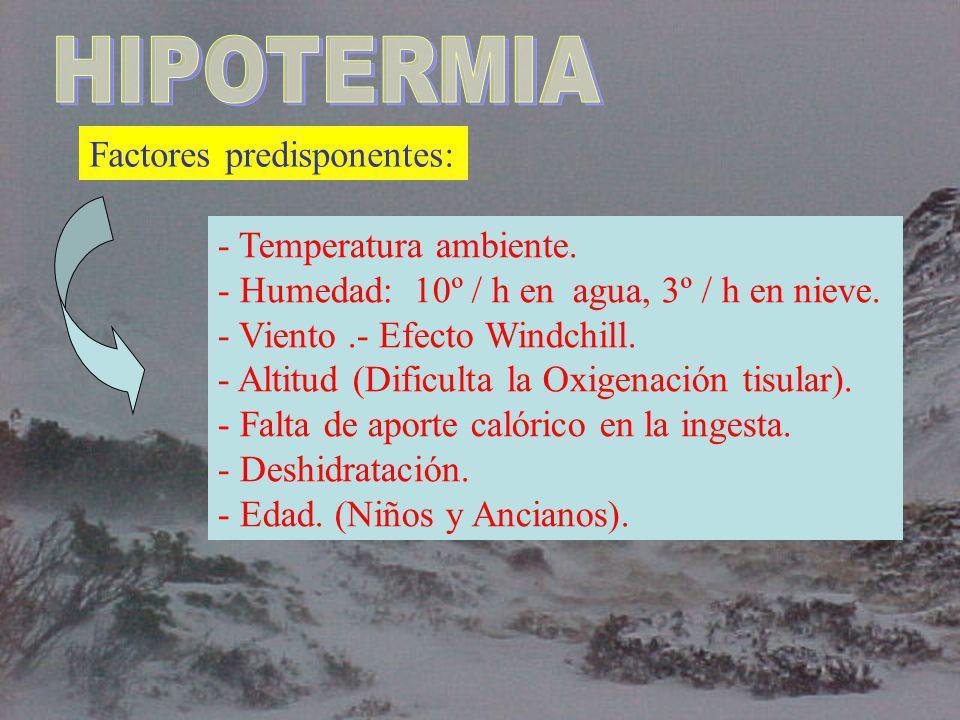 HIPOTERMIA Factores predisponentes: