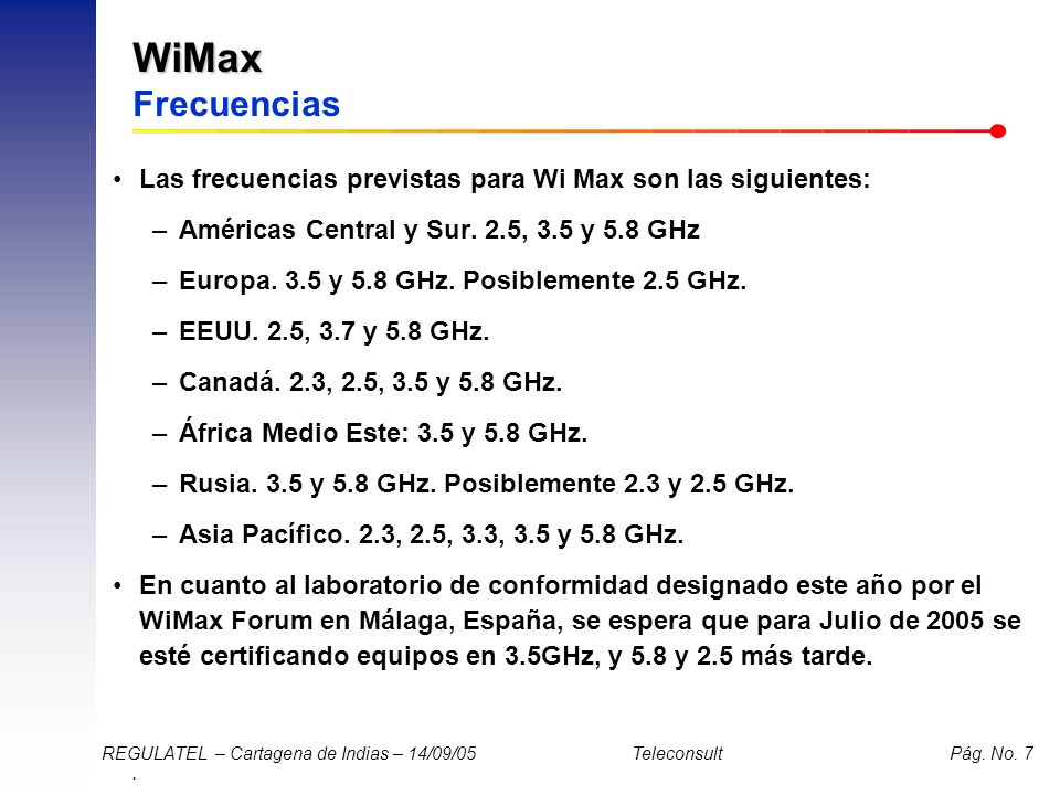 WiMax Frecuencias Las frecuencias previstas para Wi Max son las siguientes: Américas Central y Sur. 2.5, 3.5 y 5.8 GHz.