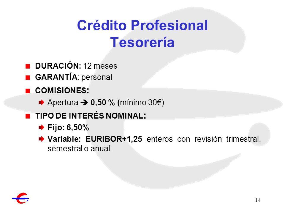 Crédito Profesional Tesorería