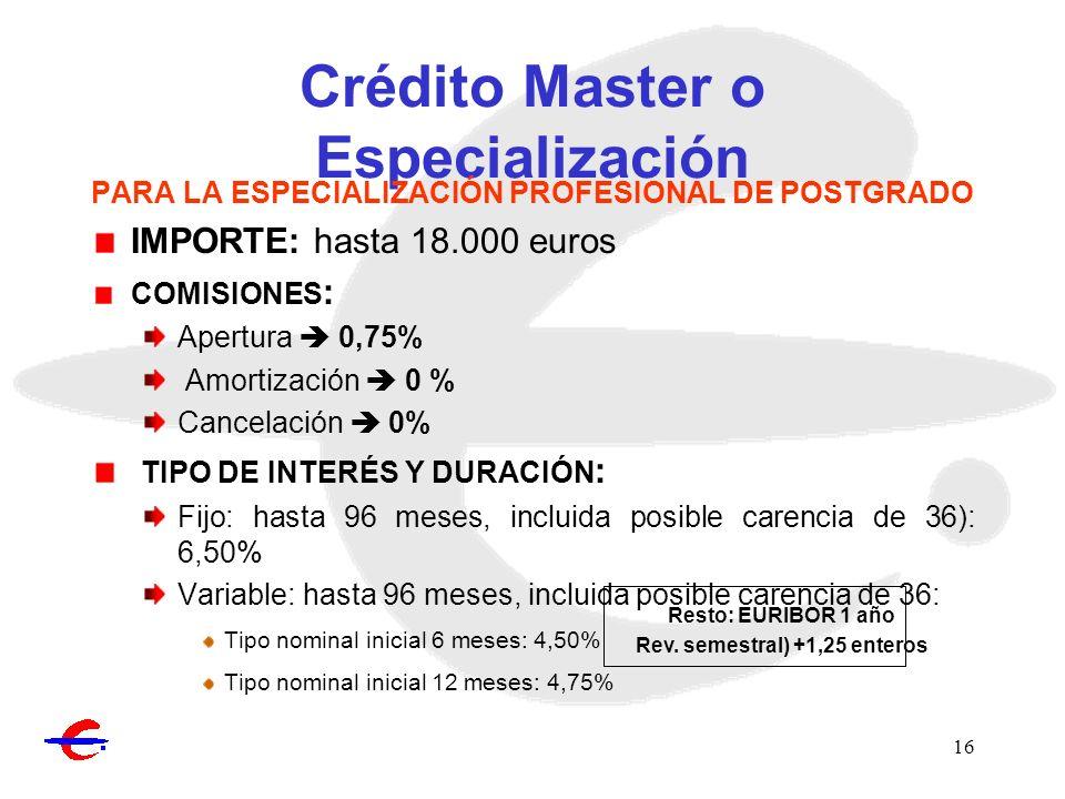 Crédito Master o Especialización