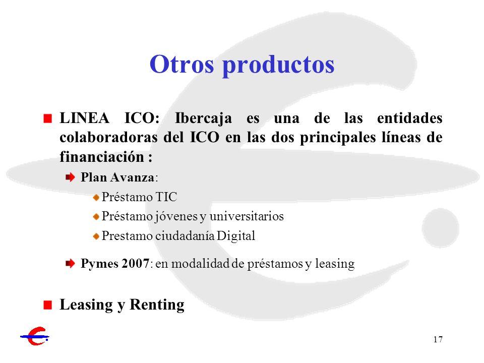 Otros productos LINEA ICO: Ibercaja es una de las entidades colaboradoras del ICO en las dos principales líneas de financiación :