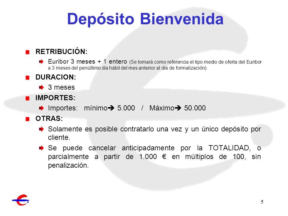 Depósito Bienvenida RETRIBUCIÓN: DURACION: 3 meses IMPORTES: