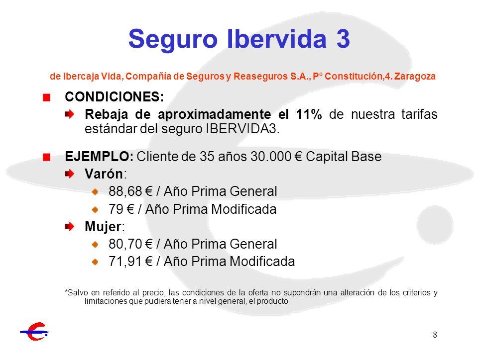 Seguro Ibervida 3 de Ibercaja Vida, Compañía de Seguros y Reaseguros S
