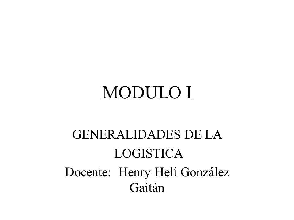 GENERALIDADES DE LA LOGISTICA Docente: Henry Helí González Gaitán