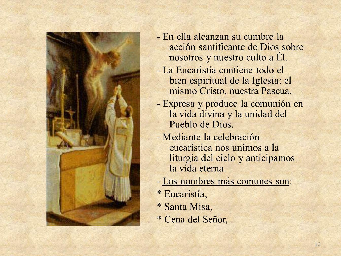 - En ella alcanzan su cumbre la acción santificante de Dios sobre nosotros y nuestro culto a Él.