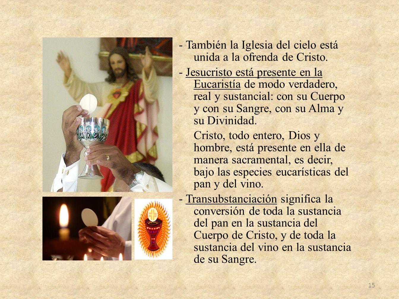 - También la Iglesia del cielo está unida a la ofrenda de Cristo