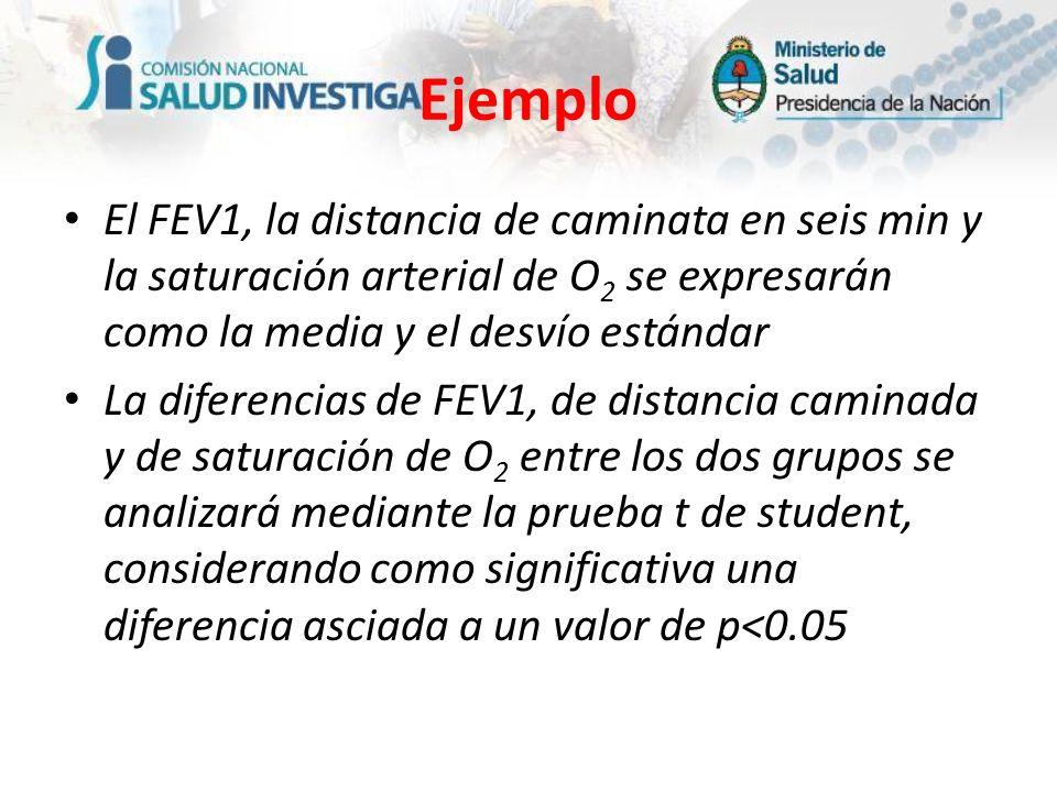 EjemploEl FEV1, la distancia de caminata en seis min y la saturación arterial de O2 se expresarán como la media y el desvío estándar.