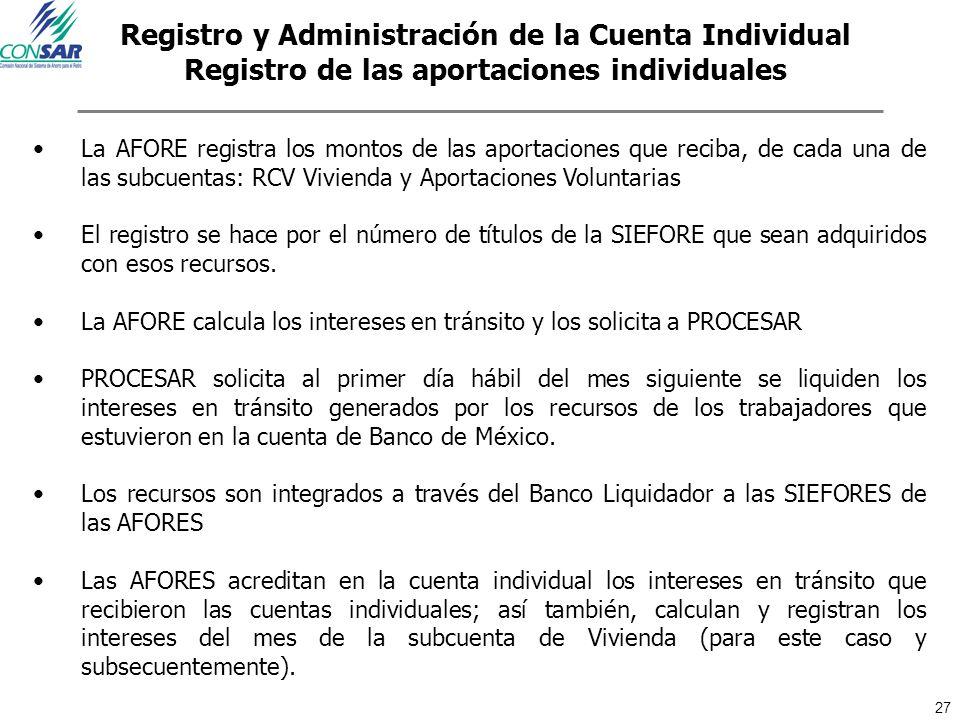 Registro y Administración de la Cuenta Individual Registro de las aportaciones individuales
