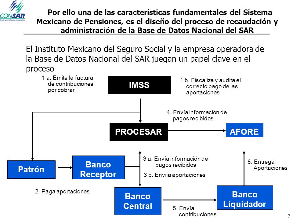 Por ello una de las características fundamentales del Sistema Mexicano de Pensiones, es el diseño del proceso de recaudación y administración de la Base de Datos Nacional del SAR