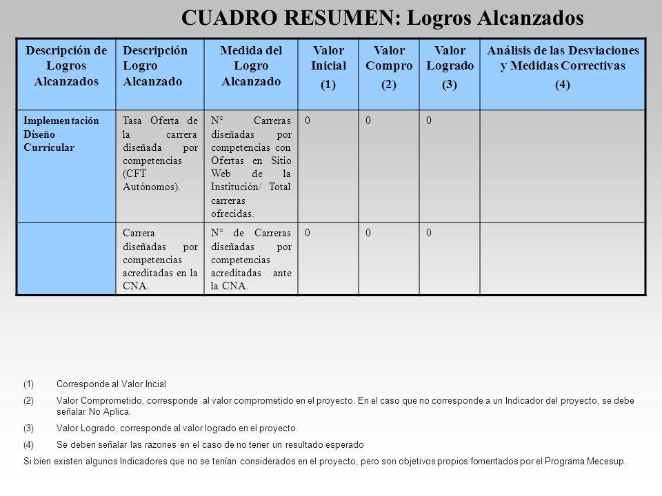 CUADRO RESUMEN: Logros Alcanzados