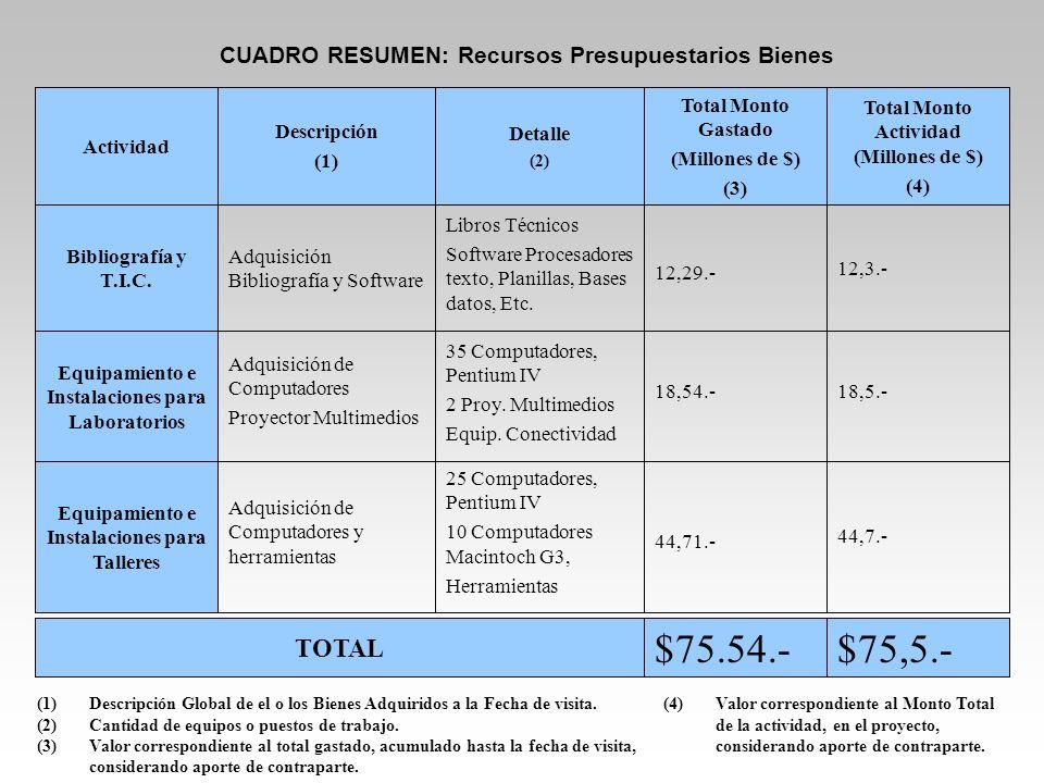 $75.54.- $75,5.- TOTAL CUADRO RESUMEN: Recursos Presupuestarios Bienes