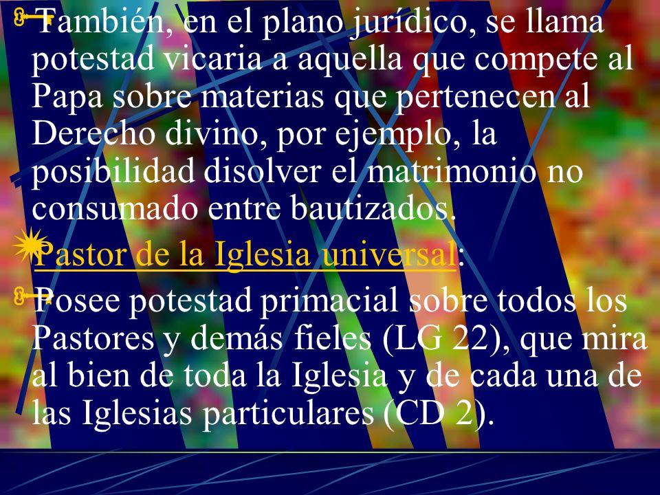 También, en el plano jurídico, se llama potestad vicaria a aquella que compete al Papa sobre materias que pertenecen al Derecho divino, por ejemplo, la posibilidad disolver el matrimonio no consumado entre bautizados.