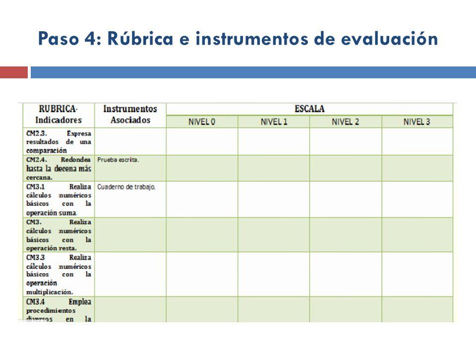 Paso 4: Rúbrica e instrumentos de evaluación