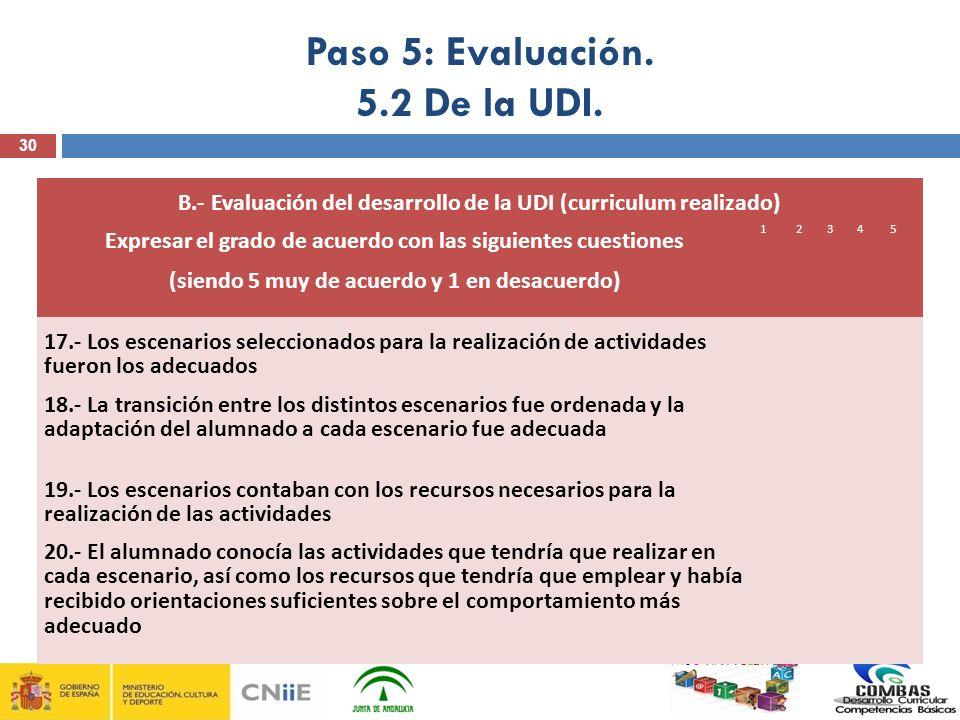 Paso 5: Evaluación. 5.2 De la UDI.
