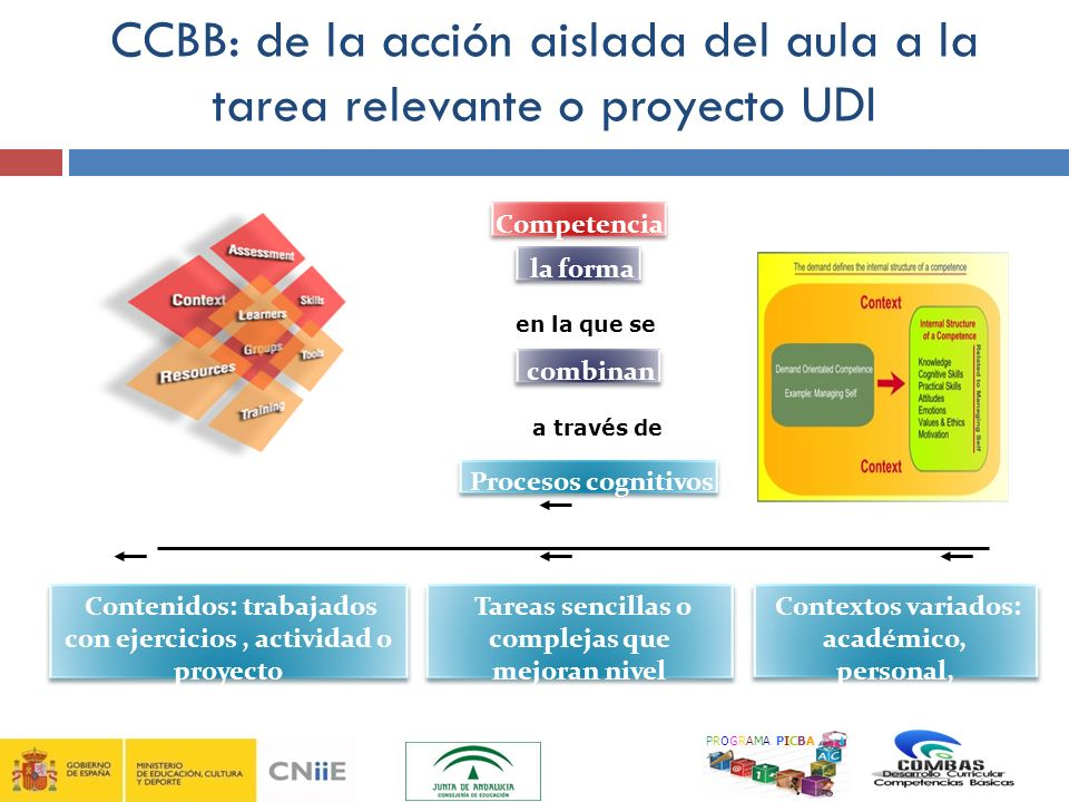 9 CCBB: de la acción aislada del aula a la tarea relevante o proyecto UDI. Competencia. la forma.