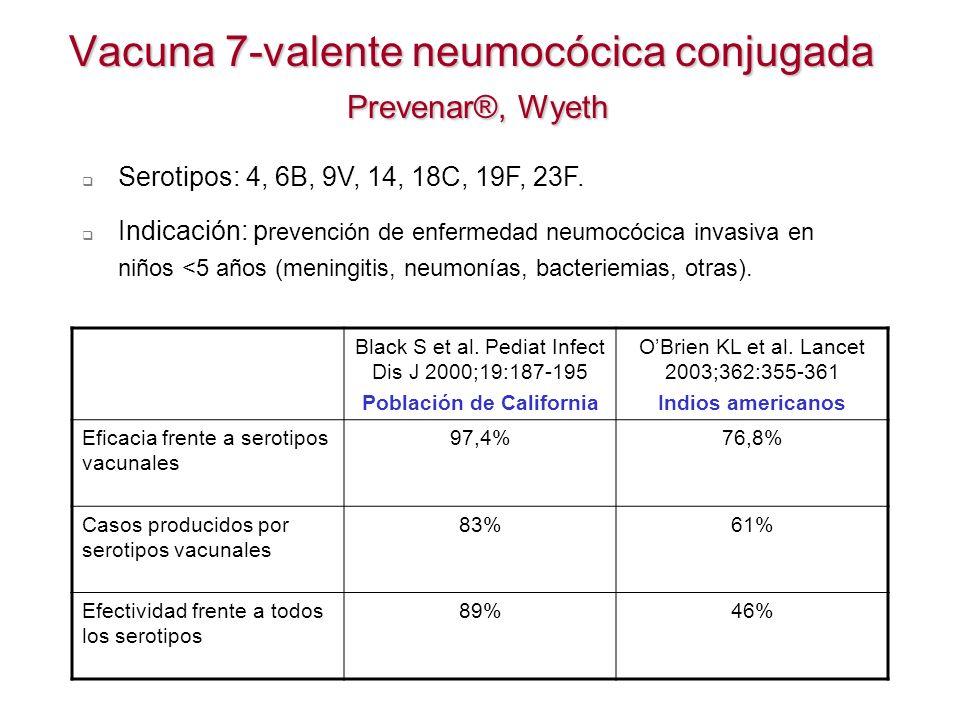Vacuna 7-valente neumocócica conjugada Prevenar®, Wyeth