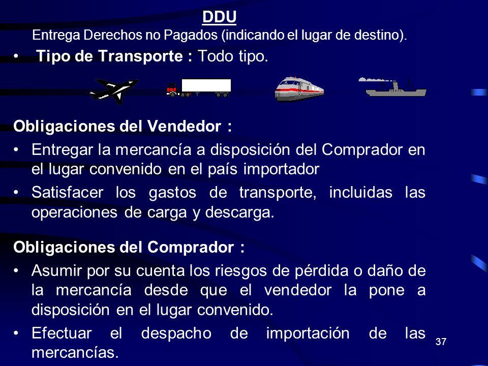 Entrega Derechos no Pagados (indicando el lugar de destino).