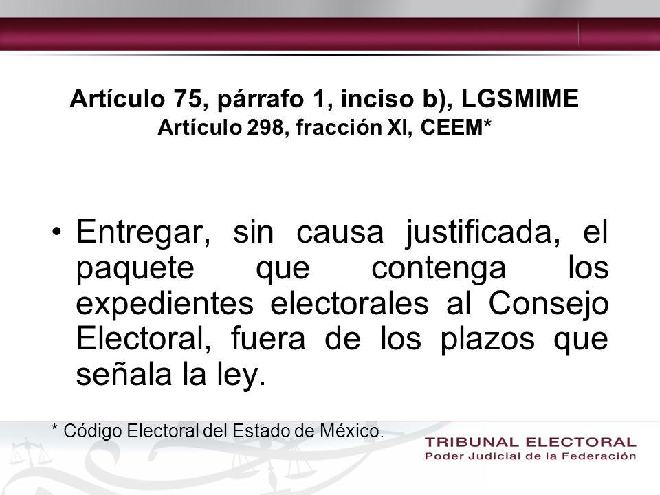 Artículo 75, párrafo 1, inciso b), LGSMIME Artículo 298, fracción XI, CEEM*