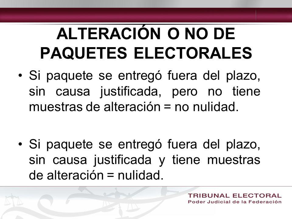 ALTERACIÓN O NO DE PAQUETES ELECTORALES
