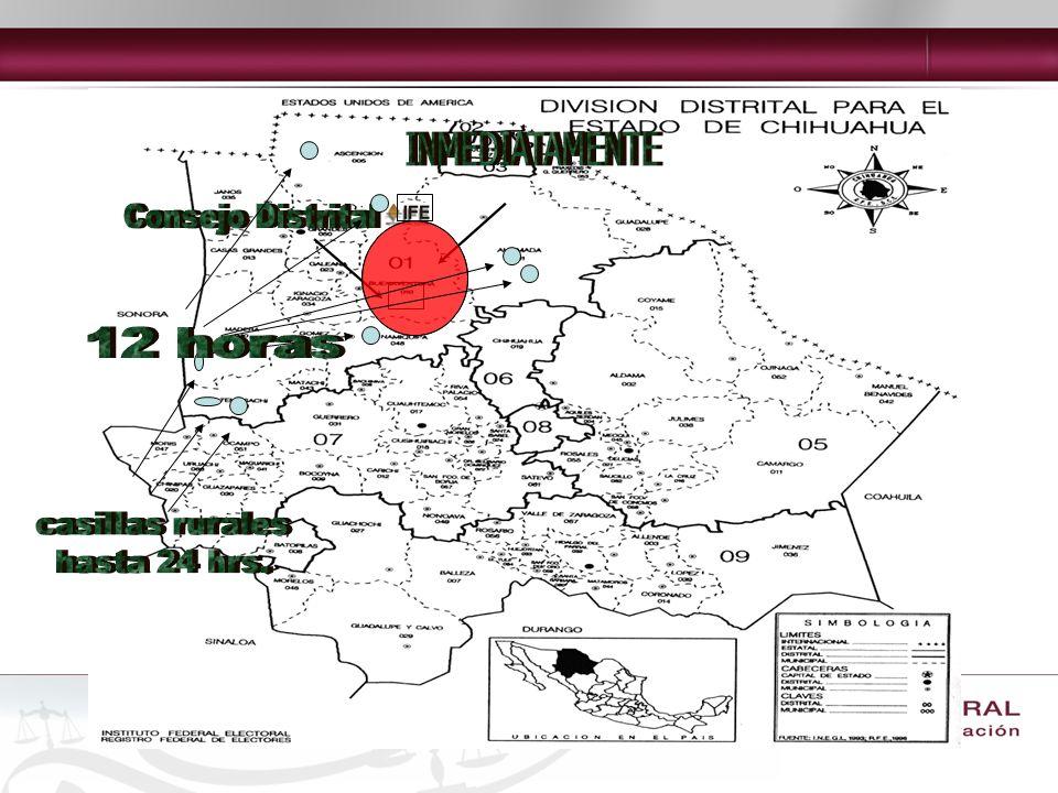 INMEDIATAMENTE 12 horas Consejo Distrital casillas rurales hasta 24 hrs.
