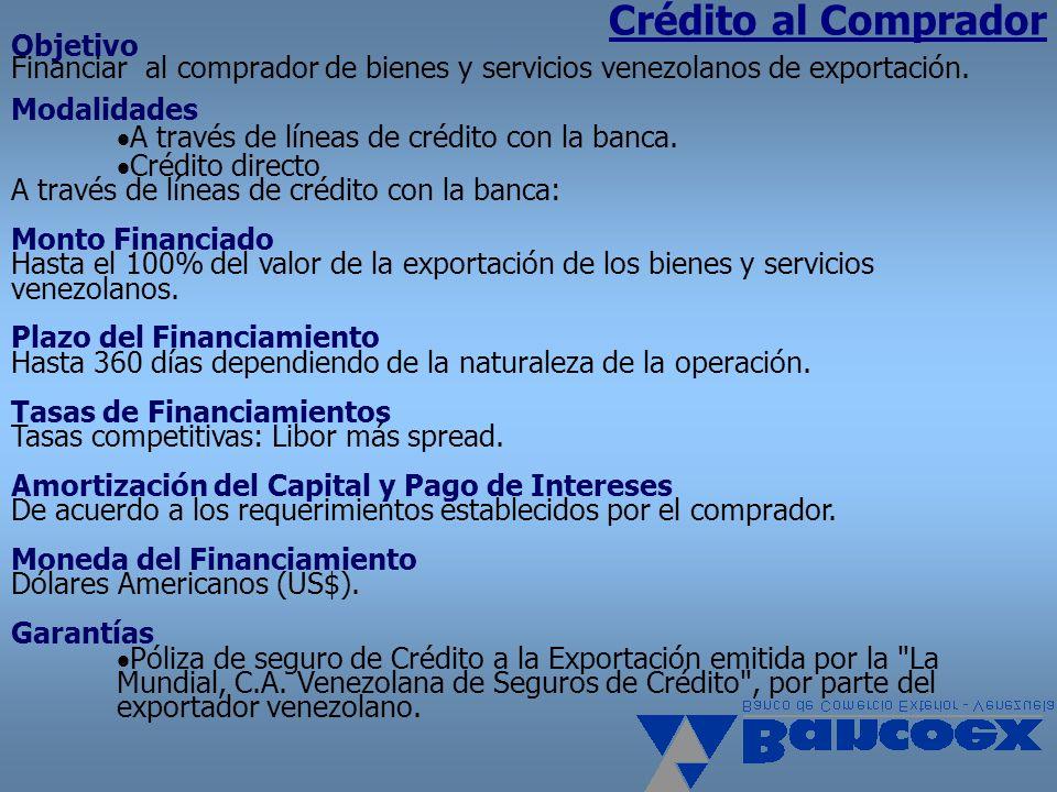 Crédito al Comprador Objetivo Financiar al comprador de bienes y servicios venezolanos de exportación. Modalidades.