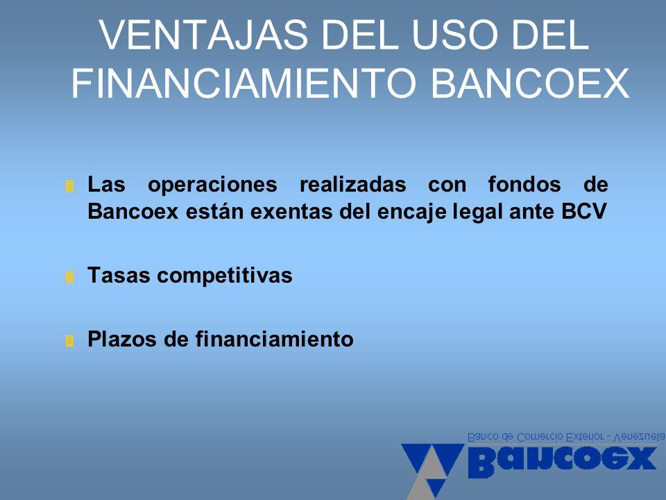 VENTAJAS DEL USO DEL FINANCIAMIENTO BANCOEX