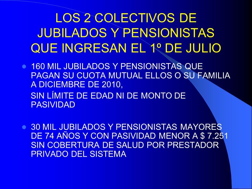 LOS 2 COLECTIVOS DE JUBILADOS Y PENSIONISTAS QUE INGRESAN EL 1º DE JULIO