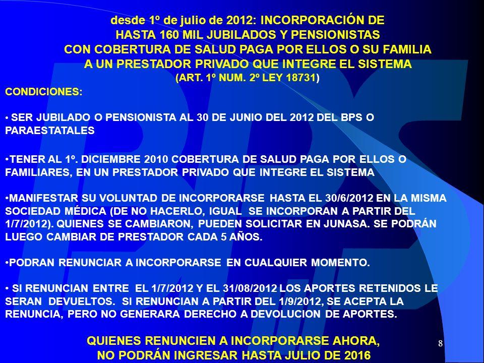desde 1º de julio de 2012: INCORPORACIÓN DE
