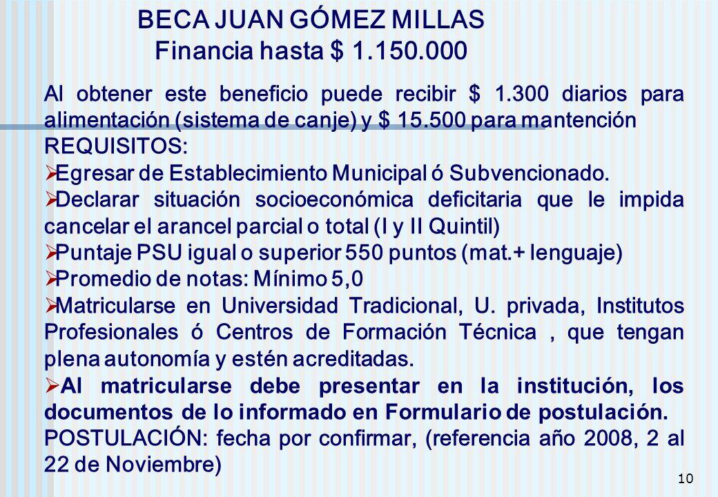 BECA JUAN GÓMEZ MILLAS Financia hasta $ 1.150.000