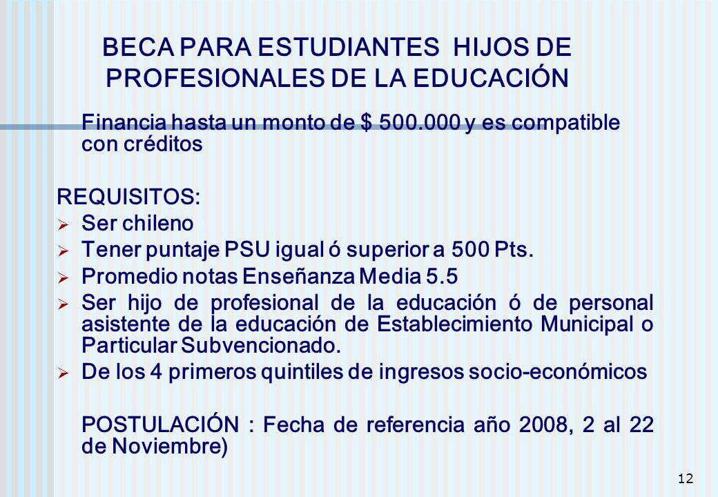 BECA PARA ESTUDIANTES HIJOS DE PROFESIONALES DE LA EDUCACIÓN
