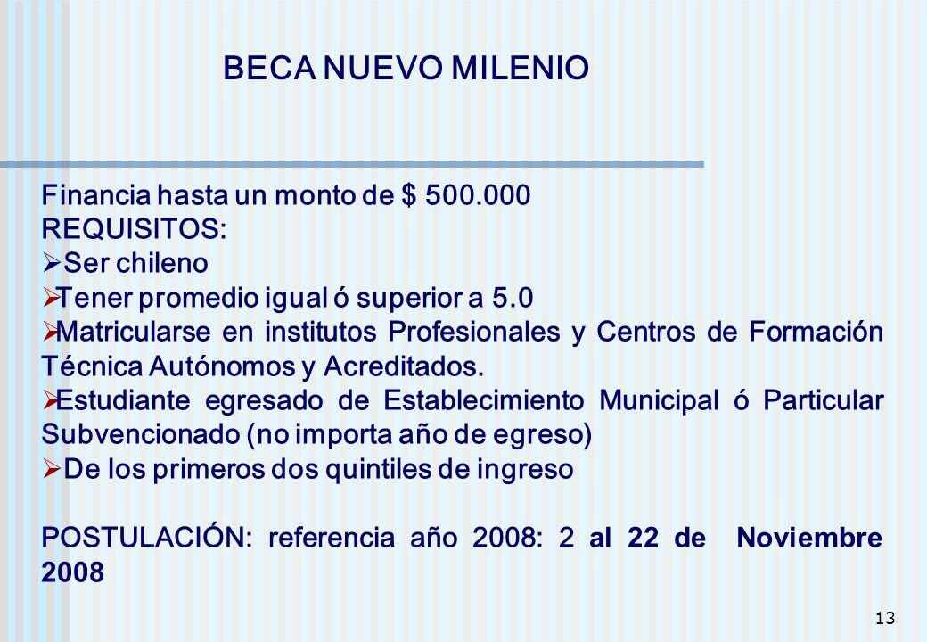BECA NUEVO MILENIO Financia hasta un monto de $ 500.000 REQUISITOS: