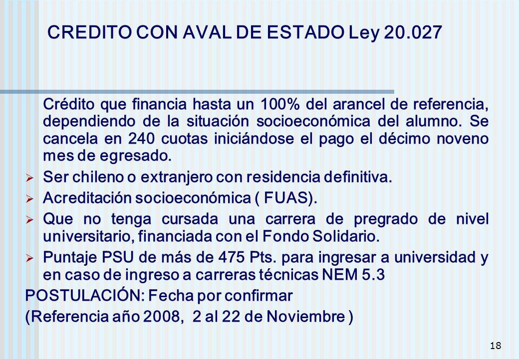 CREDITO CON AVAL DE ESTADO Ley 20.027