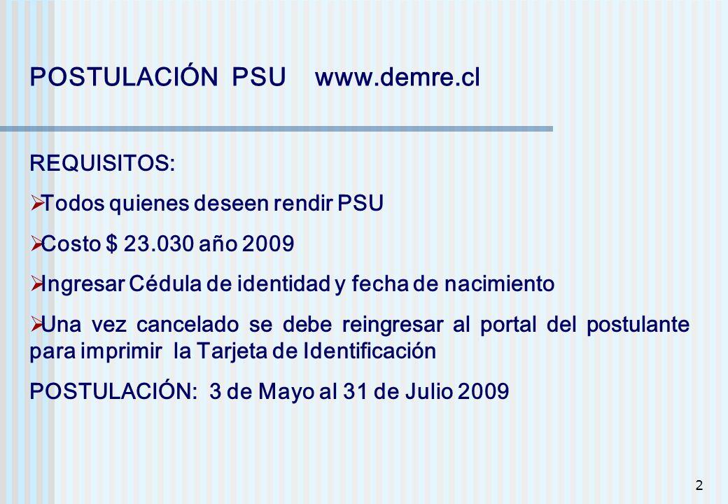 POSTULACIÓN PSU www.demre.cl