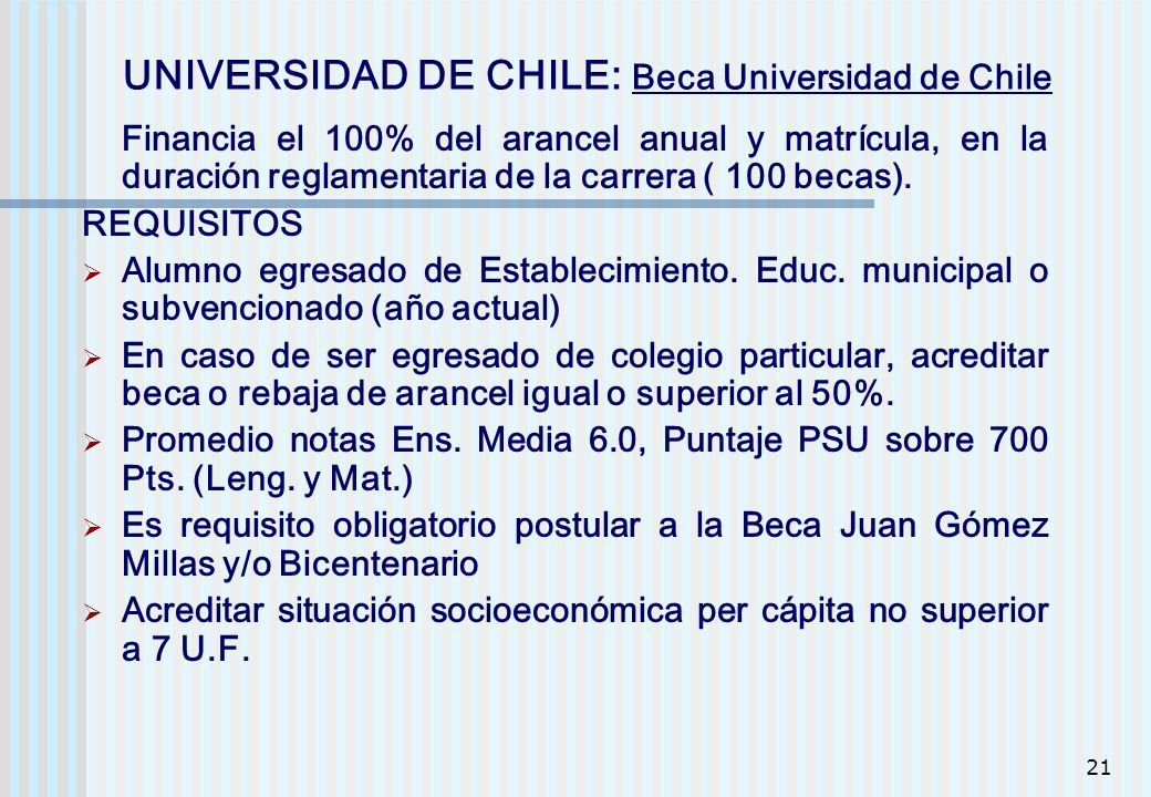 UNIVERSIDAD DE CHILE: Beca Universidad de Chile