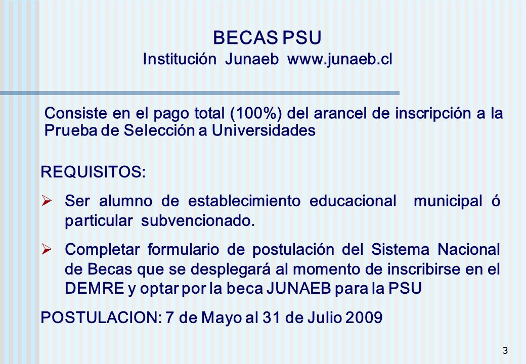 BECAS PSU Institución Junaeb www.junaeb.cl