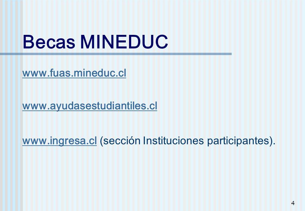 Becas MINEDUC www. fuas. mineduc. cl www. ayudasestudiantiles. cl www