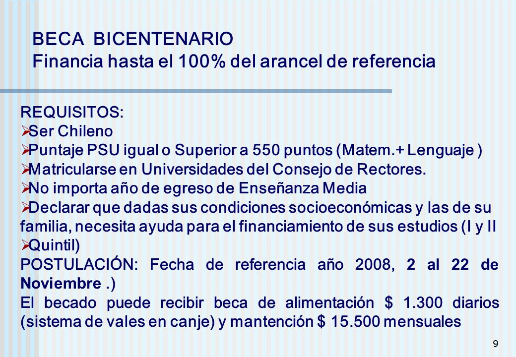 Financia hasta el 100% del arancel de referencia