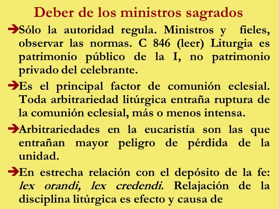 Deber de los ministros sagrados