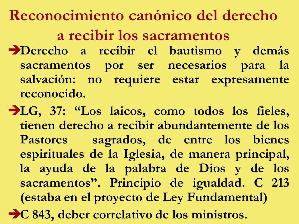 Reconocimiento canónico del derecho a recibir los sacramentos