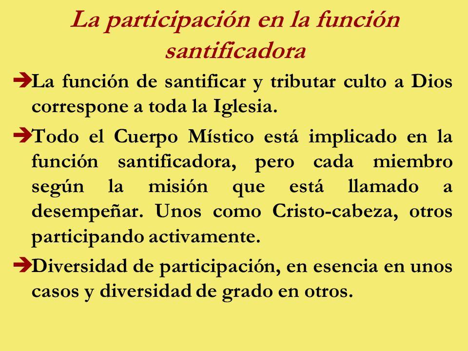 La participación en la función santificadora