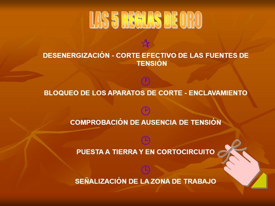 LAS 5 REGLAS DE ORO  DESENERGIZACIÓN - CORTE EFECTIVO DE LAS FUENTES DE TENSIÓN.  BLOQUEO DE LOS APARATOS DE CORTE - ENCLAVAMIENTO.