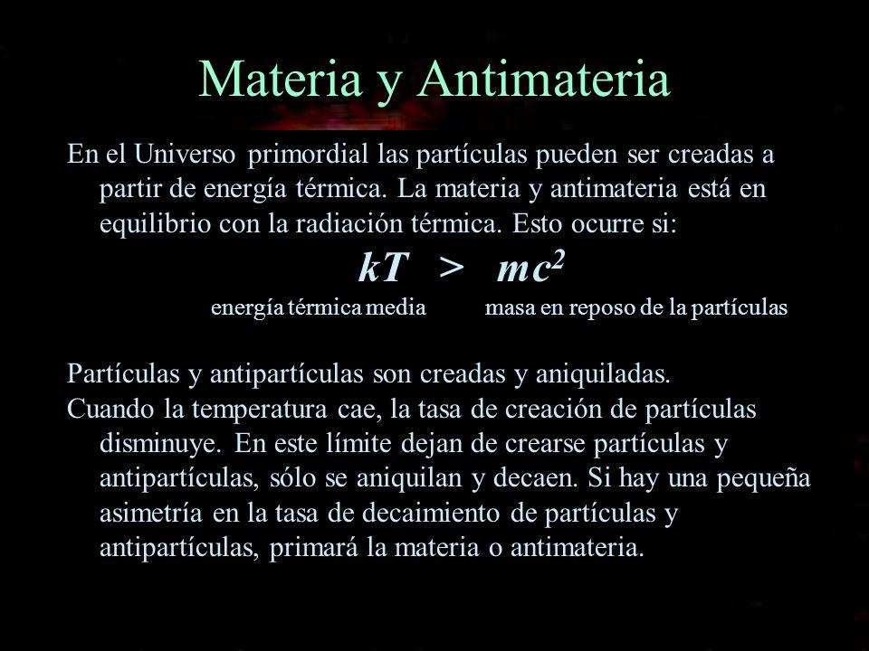 energía térmica media masa en reposo de la partículas