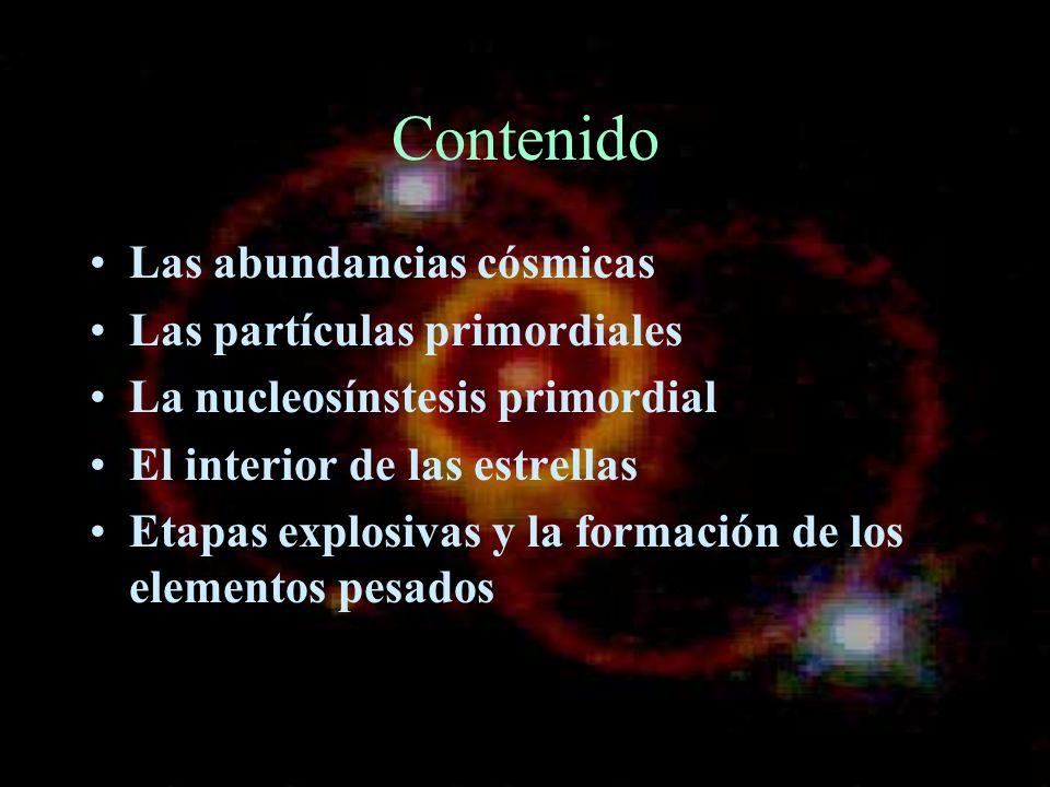 Contenido Las abundancias cósmicas Las partículas primordiales