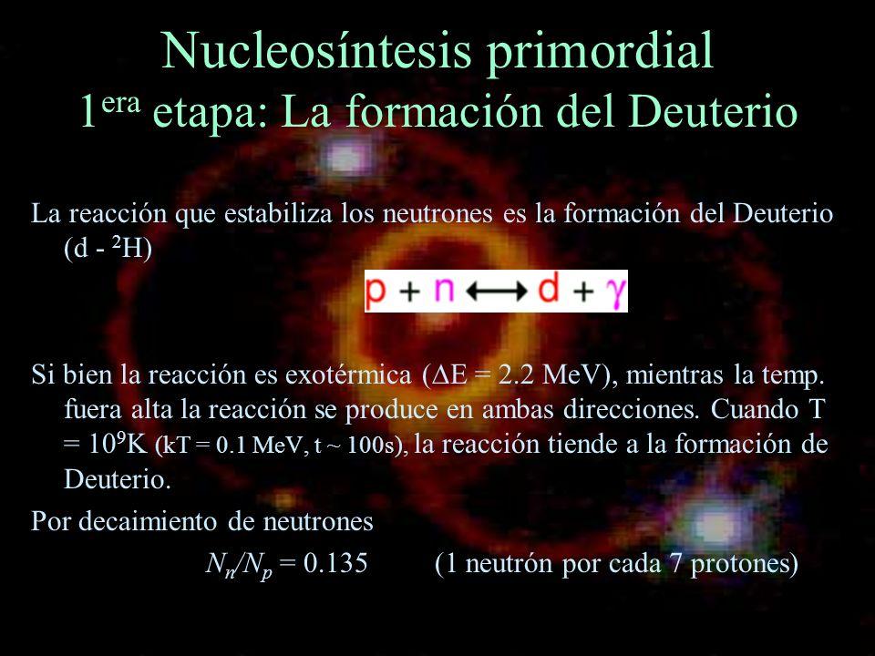 Nucleosíntesis primordial 1era etapa: La formación del Deuterio