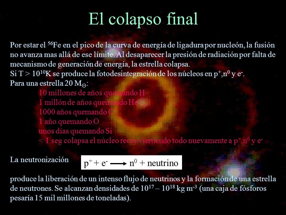 El colapso final p+ + e- n0 + neutrino