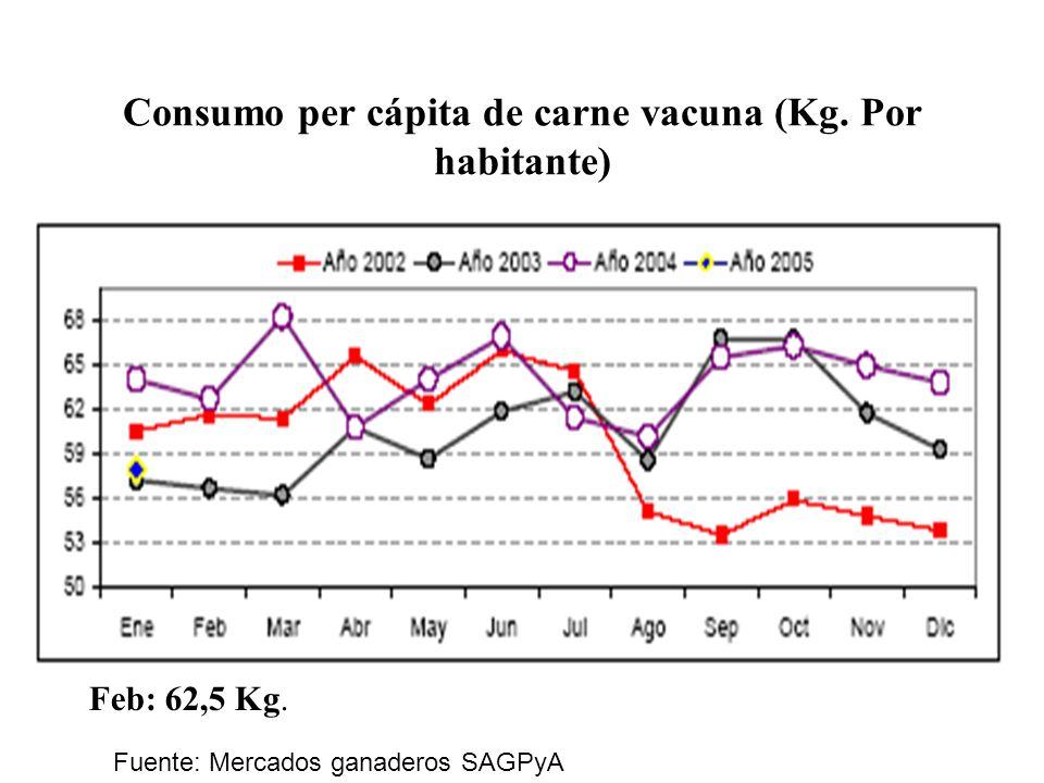 Consumo per cápita de carne vacuna (Kg. Por habitante)