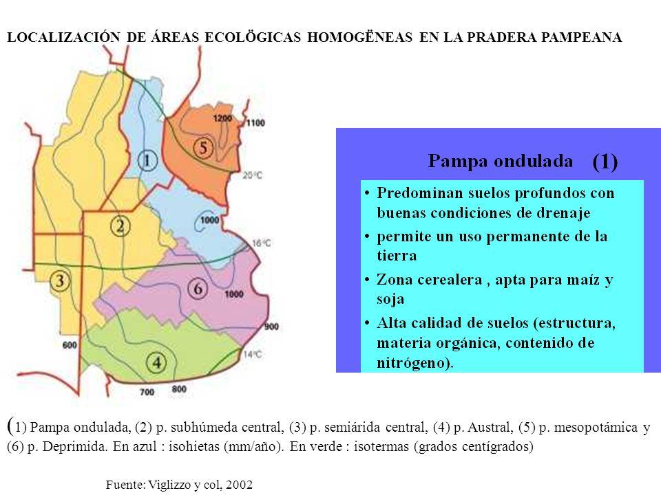 LOCALIZACIÓN DE ÁREAS ECOLÖGICAS HOMOGËNEAS EN LA PRADERA PAMPEANA