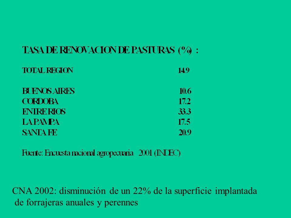 CNA 2002: disminución de un 22% de la superficie implantada