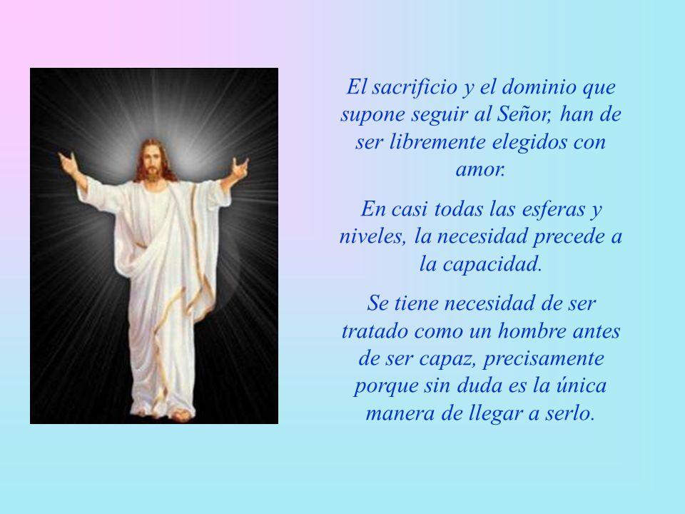 El sacrificio y el dominio que supone seguir al Señor, han de ser libremente elegidos con amor.