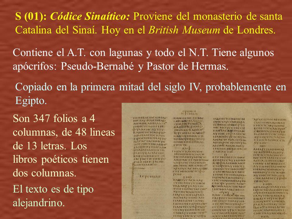 S (01): Códice Sinaítico: Proviene del monasterio de santa Catalina del Sinaí. Hoy en el British Museum de Londres.
